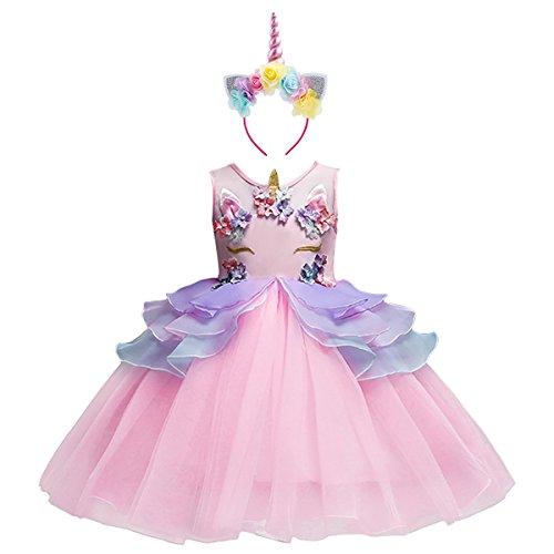OBEEII Mädchen Kinder Kleid Prinzessin Kleid Einhorn Festlich Kleid Hochzeit Partykleid Festzug Kostüm rosa 6-7 Jahre