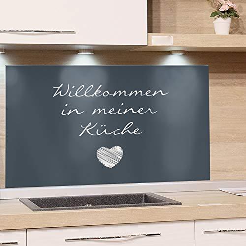 GRAZDesign Küchenrückwand Glas Küchenspruch - Spritzschutz Küche Glas Türkis - Glasrückwand Küche Herz / 80x60cm