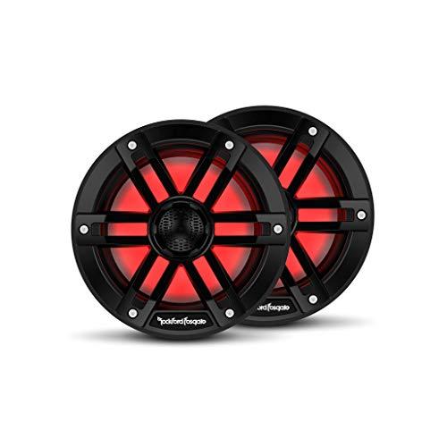 "Rockford Fosgate M1-65B Color Optix 6.5"" 2-Way Coaxial Multicolor LED Lighted Marine Speakers - Black (Pair)"