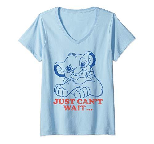 Donna Disney Lion King Simba Can't Wait Line Art Maglietta con Collo a V