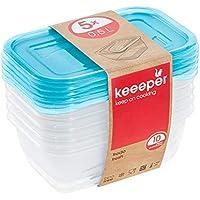 keeeper Set de 5 Fiambreras, 5 x 500 ml, 15,5 x 10,5 x 6 cm, Fredo Fresh, Azul transparente