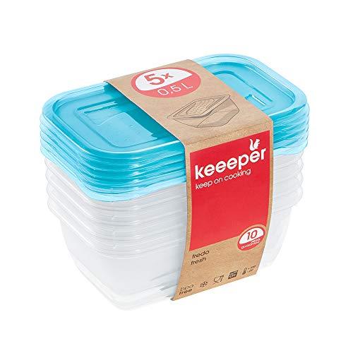keeeper Frischhaltedosenset 5-teilig, 5 x 0,5 l, 15,5 x 10,5 x 6 cm, Fredo Fresh, Blau Transparent, PP, 5x 500 ml, 5