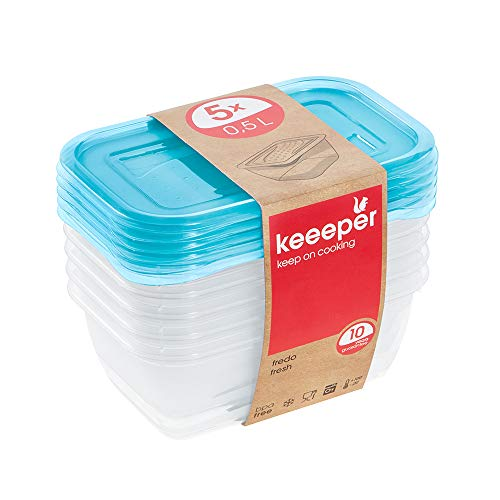 keeeper Set de 5 Fiambreras, 5 x 500 ml, 15,5 x 10,5 x 6 cm, Fredo Fresh, Azul transparente, 30672