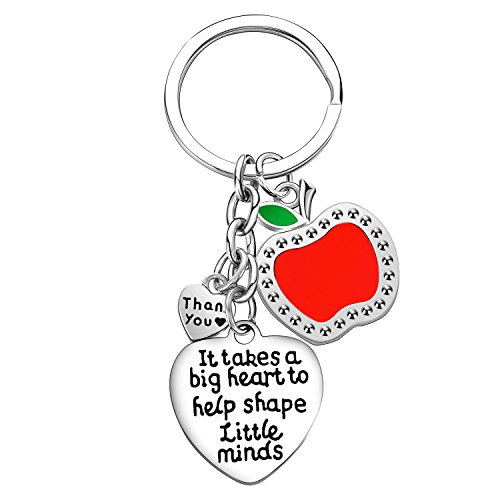 Teacher Appreciation Gift It Takes A Big Heart to Help Shape Little Minds Heart Charms Keychain