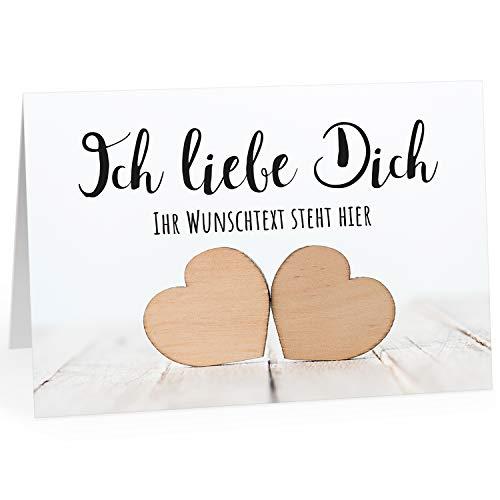 Große Ich Liebe Dich XXL-Karte zum Aufklappen (DIN A4) PERSONALISIERT - Holz Herz 2 - mit Umschlag/Edle Design Klappkarte/Geburtstag/Valentinstag/Extra Groß/Gutschein