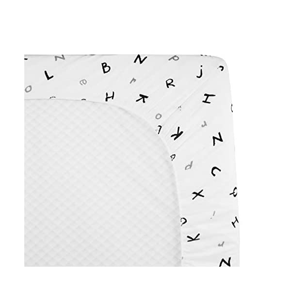 American Baby Company 100% Natural Cotton Value Jersey Knit Fitted Portable/Mini-Crib Sheet, Alphabet, Soft Breathable, for Boys and Girls, Pack of 1