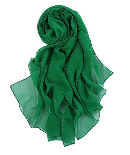 prettystern 180 cm Lunga Stola Sciarpa Foulard Tinta Unita Leggera Pura Seta Crepe Georgette - Verde