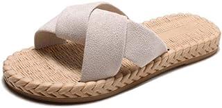 XLLJA Indoor & Outdoor Thuis Slippers, Cross riem platte sandalen en slippers vrouwelijke zomer open teen geweven zachte b...