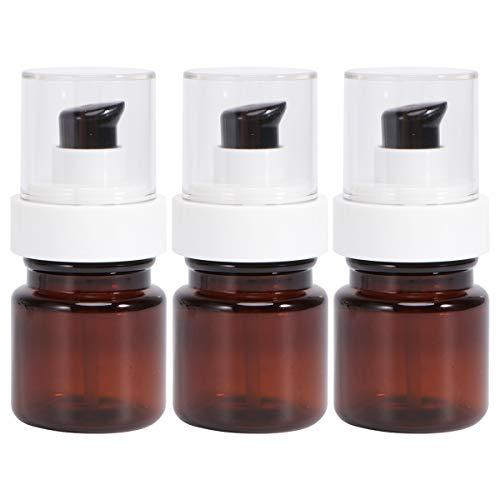 Cabilock 3pcs Bouteilles de Pompe vides Bouteille d'huile Essentielle Bouteilles vides Bouteille cosmétique Pompe Portable Bouteille Brun (40 ML)