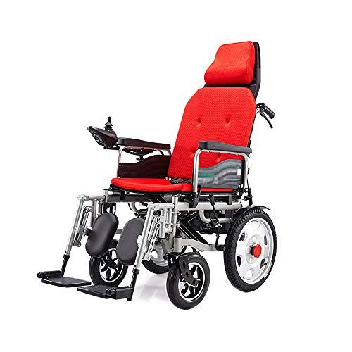 XF Silla Silla de ruedas eléctrica Plegable Plegable Ligero Anciano Deshabilitado Inteligente Automático Mentira de cuatro ruedas puede acostarse, Cargar 100 Kg, Sistema de frenos EPBS - Negro / Rojo