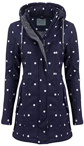 ODYSSEE Damen Softshell Mantel gepunktet Parka Jacke Kapuze Outdoor Übergang, Größe:L, Farbe:blau