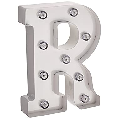 Darice White Metal Marquee Letter R – Industrial, Vintage Style Light Up Letter Includes an On/Off Switch, Perfect for Events or Home Décor (5915-794)