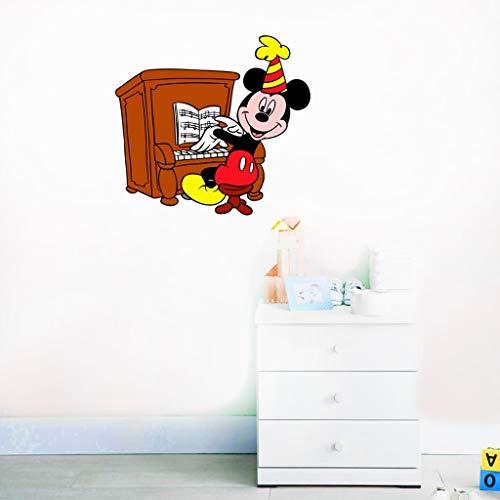 Stickers muraux Mickey Mouse Happy Disney Decal Mickey Mouse jouer Piano Mickey Mouse Stickers Disney vinyle autocollant pour chambre d'enfants