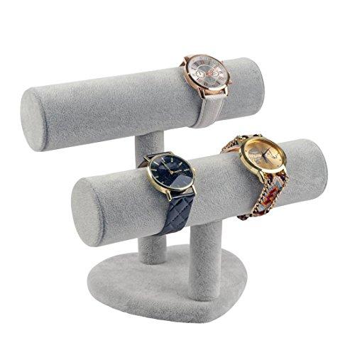 discountoase Schmuckständer für Uhren Armbänder Armreife Armbandständer Schmuckhalter Samtoptik 2 Rollen (Grau)