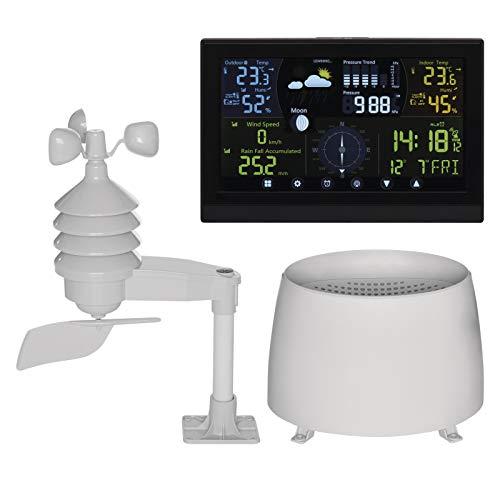 EMOS E6016 Profi Wetterstation Funk mit Außensensor und Touchscreen-Farbdisplay, Windmesser, Regenmesser, Wettervorhersage, mit Netzteil