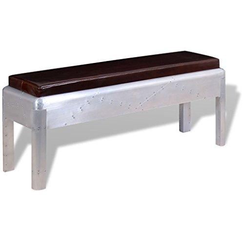 vidaXL 244244 zitbank gangbank in retro industrieel design echt leer 110 x 32 x 45 cm, leer, één maat