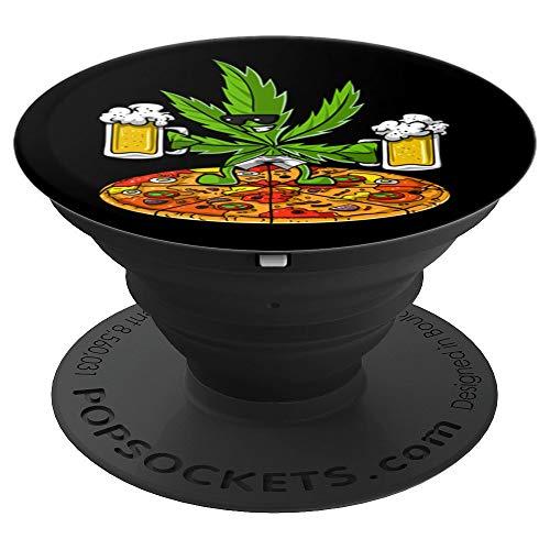 Erba Marijuana Cannabis Pizza Birra Erbaccia Weed Hippie PopSockets Supporto e Impugnatura per Smartphone e Tablet