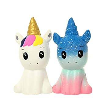 FUYAGE Galaxy Kawaii Galaxy Unicorn and Golden Horn Unicorn Squishies Slow Rising Jumbo Squishy Squeeze Toys for Kids and Adults
