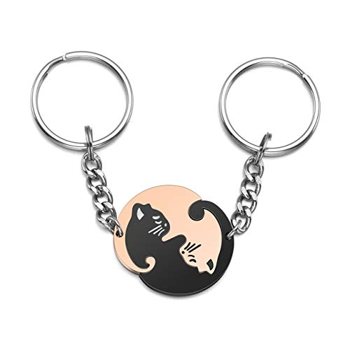 Jovivi 2pcs Stainless Steel Couples Keychains Black Rose Gold Cat Puzzle Piece Matching Couple...