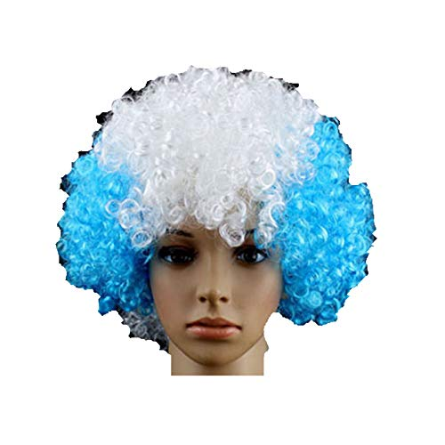 Argentine Pays de Football Supporter Fans Fournitures Perruque Afro Costume de déguisement Cosplay