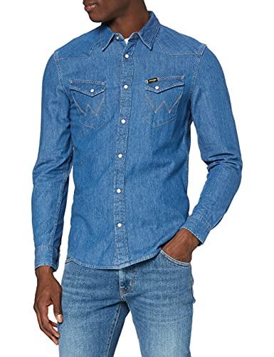 Wrangler LS Western Shirt Camisa, Mid Stone, L para Hombre