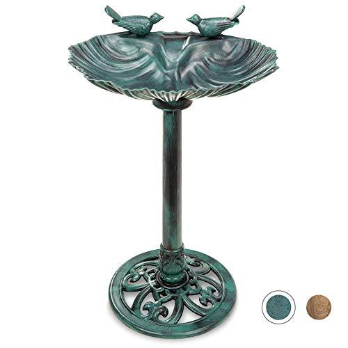 Best Choice Products Outdoor Pedestal Bird Bath Decoration w/Sparrow Statues, Fleur-de-Lis Accents - Green