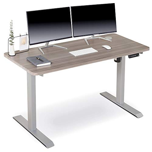 BRODAN Electric Standing Desk with Power Charging Station, Adjustable Height Sit Stand Home Office Desk, 54 x 24 Solid 1-Piece Desktop, Rising Computer Desk [Newest Version] (Oak)
