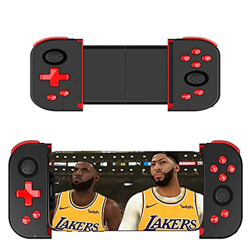 Wireless Mobile Controller Gamepad, PUBG Mobile Game Controller with Triggers for 3.5-6.5 Inch Android iOS 11.0~13.3 for FPS Games(Black red)