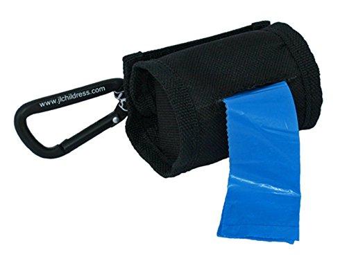 J.L. Childress Bolsas Bag 'N, dispensador portátil de tecido e saco de lixo de recarga, ganchos facilmente para carrinho ou bolsa de fraldas, inclui 30 sacos descartáveis, preto
