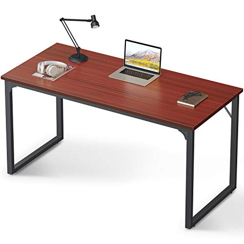 Coleshome Computer Desk 55', Modern Simple Style Desk for Home Office, Sturdy Writing Desk,Teak