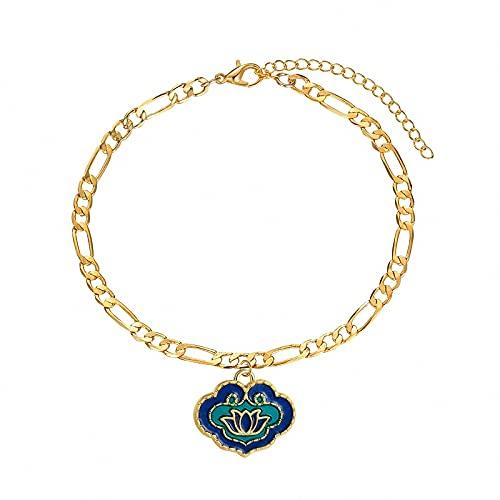 QGGESY Tobillera de Oro Delicada para Mujer, Tobillera de Loto clásica Simple con Relleno de Oro, Cadena de Abalorios de Playa Boho, joyería Personalizada Minimalista, Bracelet