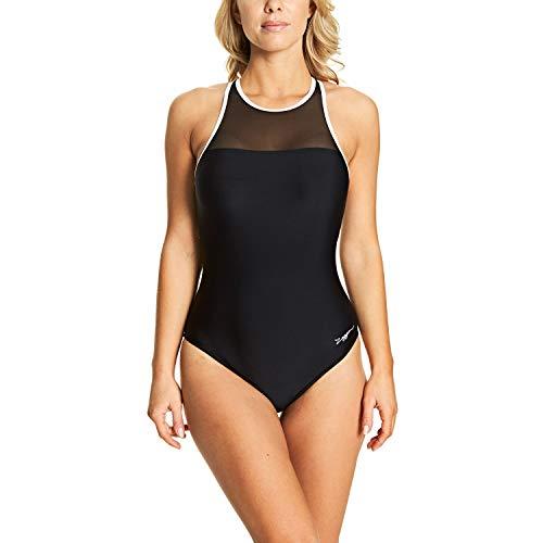 Zoggs Damen Monochrome Mesh Crossback Badeanzug, schwarz/Weiß, 40