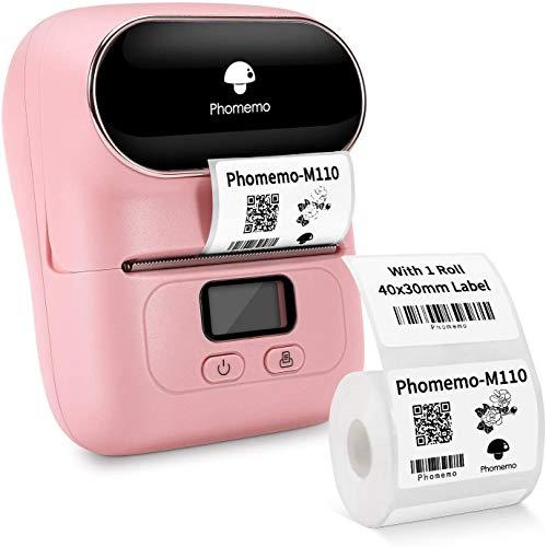 Phomemo M110 Etikettendrucker-Tragbarer Etikettendrucker Bluetooth Thermoetikettenhersteller, Geeignet für Büro, Barcode, Kabel, Schmuck, Kleidung,Kompatibel mit iOS- und Android-Geräten, Rosa