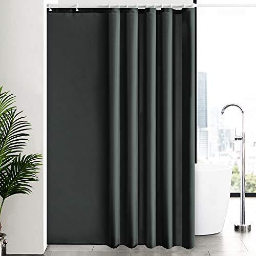 Badvorhang Duschvorhang Badewannenvorhang Überlänge Anti-Schimmel für Badezimmer, Textiler Vorhang aus Stoff Waschbar Wasserdicht Blickdicht, Größe 200x240cm Dunkelgrau mit 12 Haken.