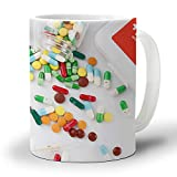 Ceramic Coffee Mug 12 Oz Pill Capsule Medicine Bottle Medicine Box Large Handles Cup for Tea/Milk/Cocoa| Home and Office Use| Gift for Man/Women