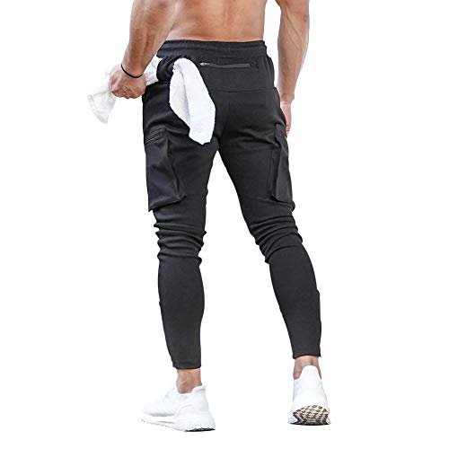MECH-ENG Men's Active Tack Jogger Pants Fitness Tapered Sweatpants Slim Fit Trousers with Zipper Pockets(Black M/Tag XL)