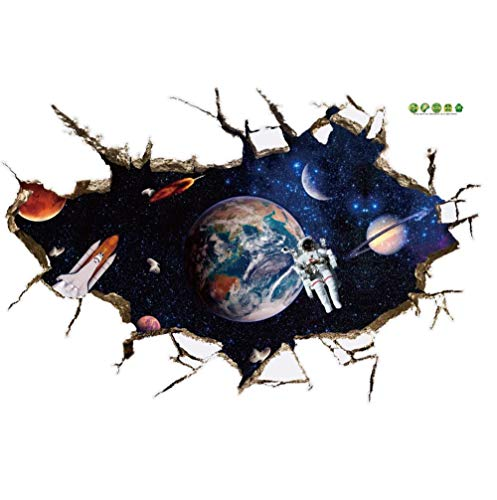 Astronauts nursery living room Bedroom backdrop Solar System wall stickers for kids rooms er space 3d effect wall decals