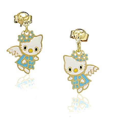 Orecchini per bambini Hello Kitty tono oro giallo e smalto blu