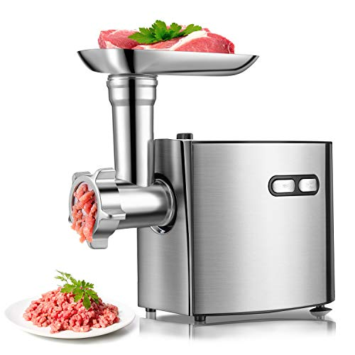 Electric Meat Grinder For Kitchen | cheffano ALTRA Meat Grinder Sausage Suffer | Sausage Maker&Kubbe Kit, 2 Stainless Steel Blades,3 Size Plates | Copper Motor Meat Grinder For Home Use - Silver