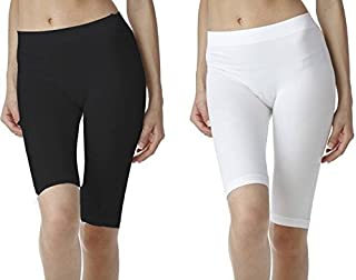 ROOLIUMS ® (Brand Factory Outlet -Biowashed 220 GSM Cotton Lycra Girls/Women Cycling, Yoga, Jogging Shorts/Tights, 4 Way Stretchable Shorts Pack of 2