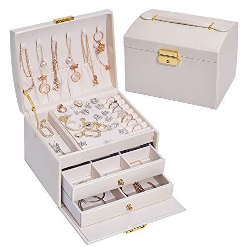 Caja de almacenamiento de joyería de tres capas con cajón de cuero, caja de joyería, pendientes, pendientes caja de joyería con cerradura-blanco, 17 x 14 x 13 cm