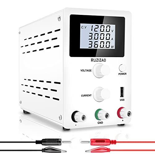 RUZIZAO Labornetzgerät Regelbar Labornetzteil 60V 5A Variablen Schaltnetzteil Geregeltes Hochpräzises 4-stelliges LCD-Display 5V/2A USB-Anschluss Labor DC-Stromversorgungen