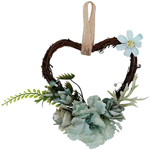 AMOYEE Floral Hoop Wreath Artificial Flowers and Eucalyptus Garland Metal Ring Wreath Hanging for Wedding Nursery Wall Decor (Mix Color,7.09 x 5.51 x 2.36 inch)