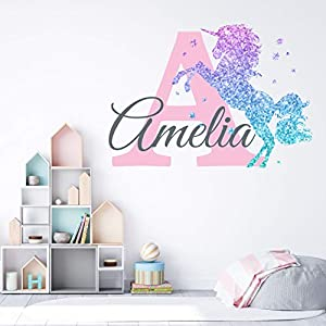 Girls Nursery Glitter Shimmer Sparkle Printed Unicorn Name and Initial Personalized Custom Name Vinyl Wall Decal, Wall Decor Sticker (Large)