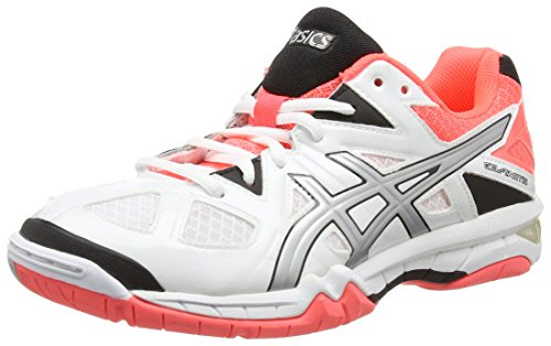 ASICS Damen Gel-Tactic Volleyballschuhe, Weiß (White/Silver/Flash Coral 0193), 38 EU
