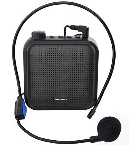 Amplificador de Voz, Sistema de PA Recargable de 12 Vatios (1200 mAh) con Micrófono con Cable para Profesores, Guía Turístico y más (Negro)