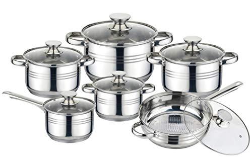 Batería de Cocina de 12 Piezas, Acero Inoxidable Apta para Todo Tipo de Cocinas