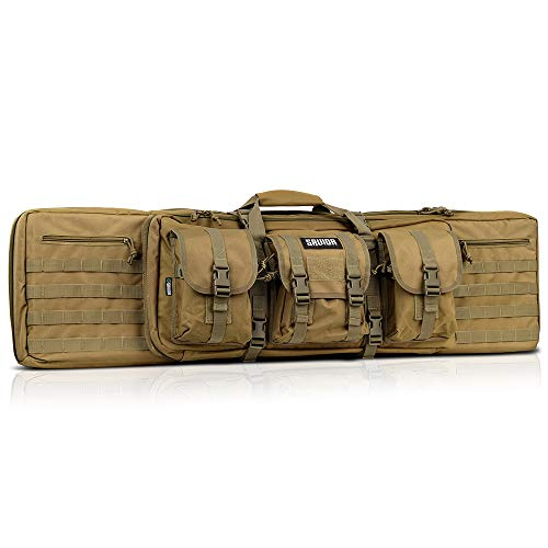 Savior Equipment American Classic Tactical Double Long Rifle Pistol Gun Bag Firearm Transportation Case w/Backpack - 46 Inch Flat Dark Earth Tan