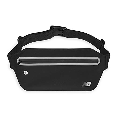 New Balance Running Belt Bag Waist Pack - Slim Workout Fanny Pack Pouch | Water Resistant Jogging Pouch & Walking Belt for Women & Men, Black