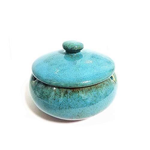 YDYX Aschenbecher aus Keramik mit Deckel, winddicht, Aschenbecher für Raucher, Schreibtisch-Räucheraschenbecher für Zuhause und Büro, Dekoration (blau)
